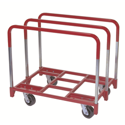 "NEW HAVEN RED STEEL PANEL CART w/5"" CASTERS (2FIXED)"
