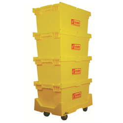 E-CRATE® set of 4 ECRATES & 1 EDOLLY HD PLASTIC -YELLOW